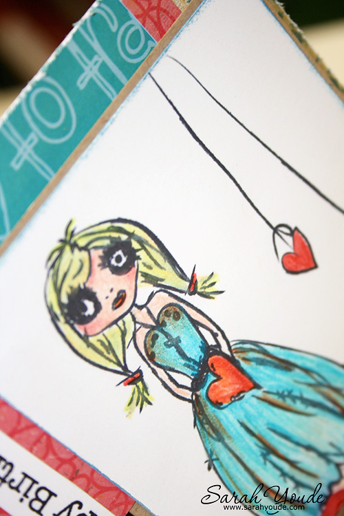 grungy ballerina card close up