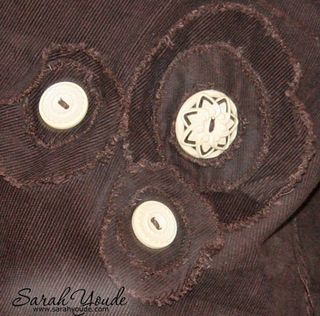 Layered Cord flowers with vintage style buttons