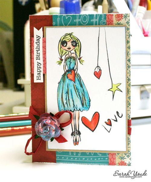 grunge ballerina card